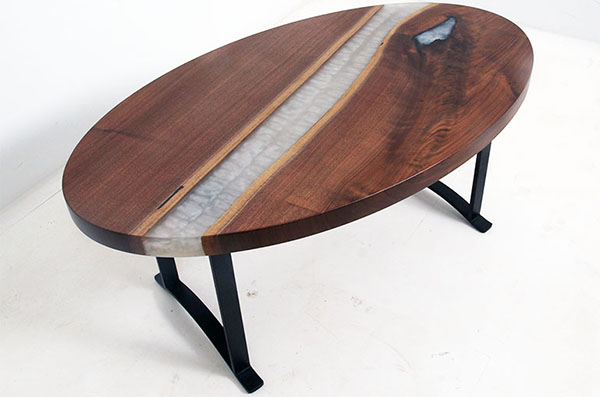 Round Walnut Coffee Table With Pearl Resin River Sold Online in 2020