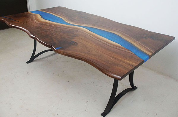 Small Conference Table With Blue Resin River Made With Walnut Sold Online In 2020