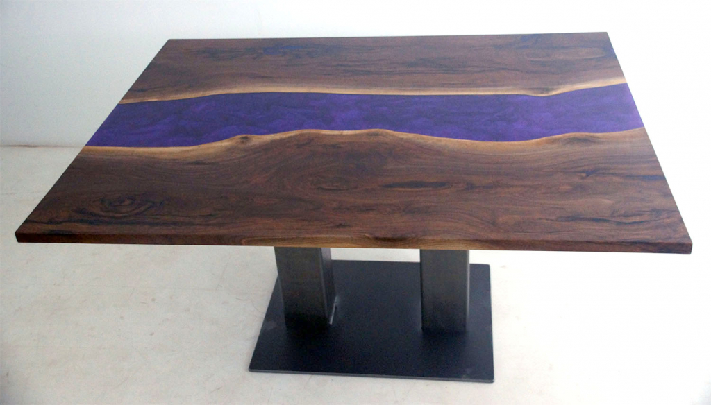 Stunning Purple Epoxy Resin River Dining Table $4,200 For Sale At The CVCF River Table Online Store