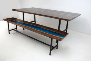 Totally Cool LED Backlit Blue Epoxy Resin River Live Edge Dining Room Table With Matching Bench $8,800+ Sold Online In 2020