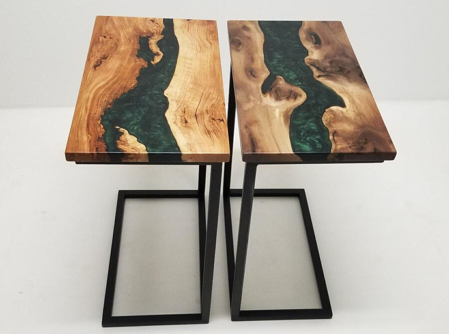 Walnut And Cherry Coffee Tables With Green Epoxy Resin Rivers Custom Made By CVCF