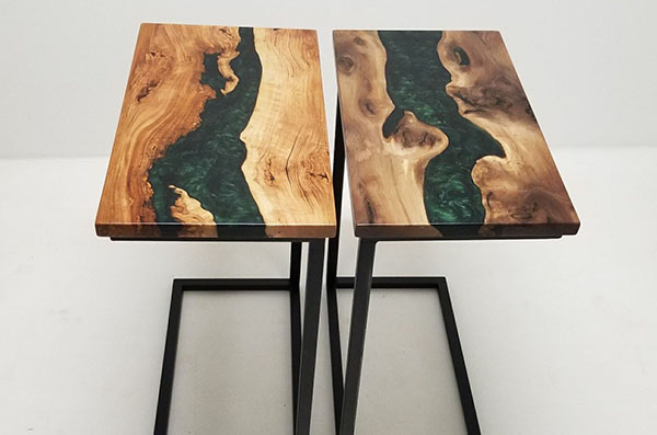 Walnut And Cherry Side Tables With Green Epoxy Resin Sold Online In 2020