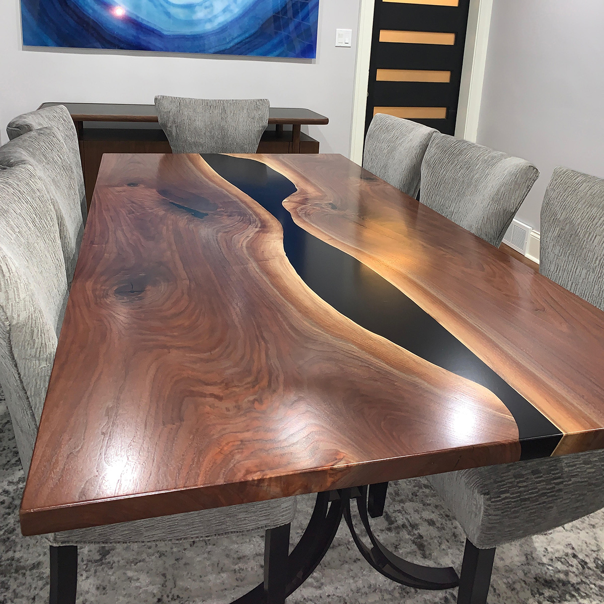 Walnut Dining Table With Black Epoxy Resin Sold To Chicago Family
