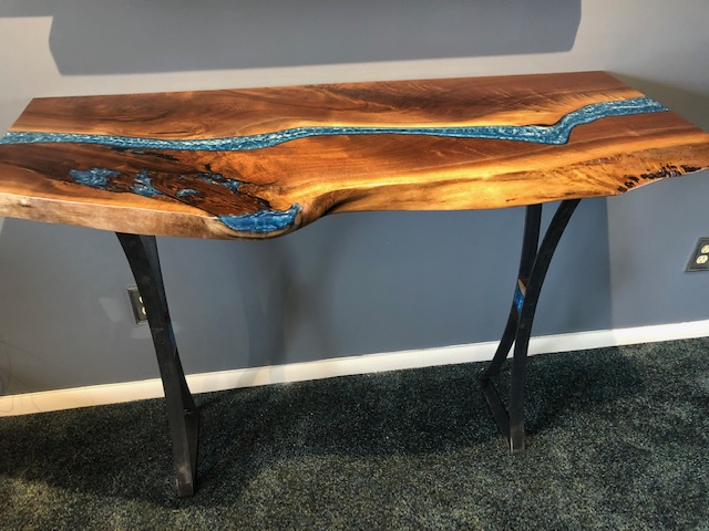 Walnut Live Edge Coffee Table With Blue Epoxy Resin River Custom Made By CVCF In 2020