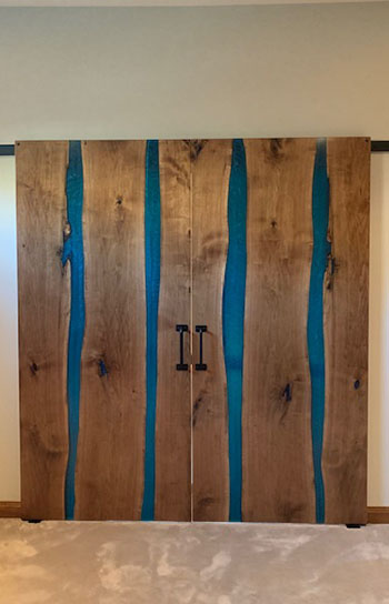 Walnut River Barn Doors With Blue Resin River Sold In Ohio