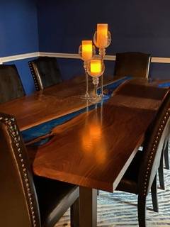 Awesome Custom Built Live Edge Epoxy Resin River Dining Table Co-Designed By CVCF Furniture Makers And The Appreciative Customer In 2020 [Black Walnut Slabs] Sold At The CVCF River Table Online Store