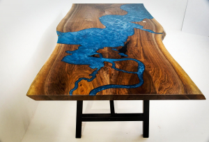 River Table For Sale | Ordered At CVCF Epoxy River Table Online Store | Custom Made CNC Carved And Blue Epoxy Resin Filled Chesapeake Bay Live Edge Dining Table | $7,000+ | Custom Furniture Co-Designed Online By Pennsylvania Client And CVCF River Table Makers | Furniture Custom Built And Shipped In 2020 | Buy A Custom River Table | Order A Resin Inlay Table Locally Near You (U.S. Only) Or Online At Chagrin Valley Custom Furniture | Epoxy Resin Water Scene Tables