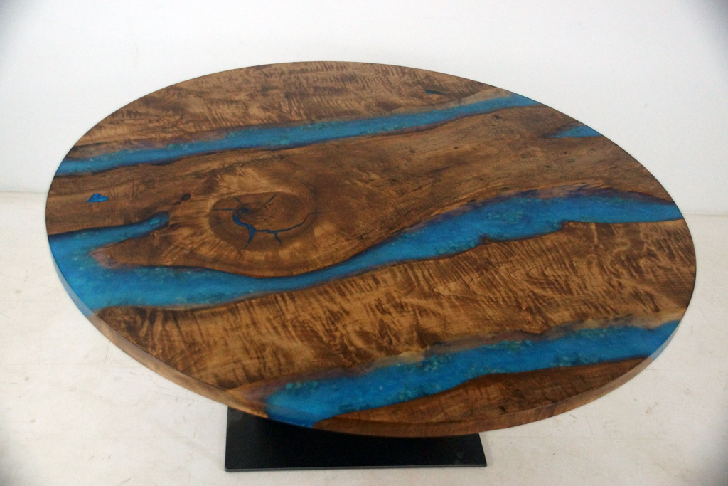 """Buy A Round Blue Epoxy Resin River And Black Walnut Live Edge Dining Table For Sale Locally Near You (U.S. Only) And Online $6,000+ [Seating For 4, 6, 8 Or 10 People - 60"""", 72"""", 84"""" Or Larger]"""