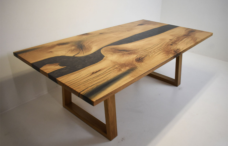 White Oak Gray River Table With White Oak Legs