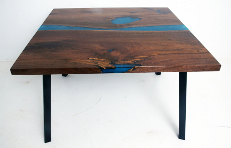 Walnut River Kitchen Table With Teal & White River