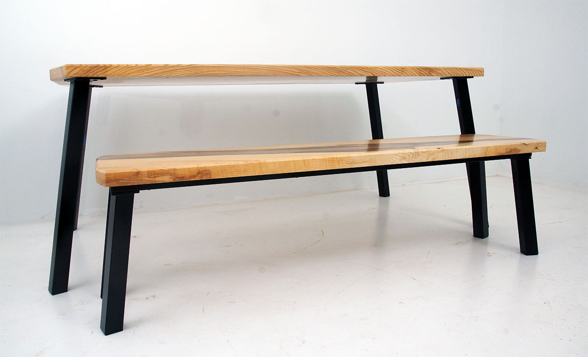Clear Epoxy River Desk Table And Matching Bench | $9,000.00+