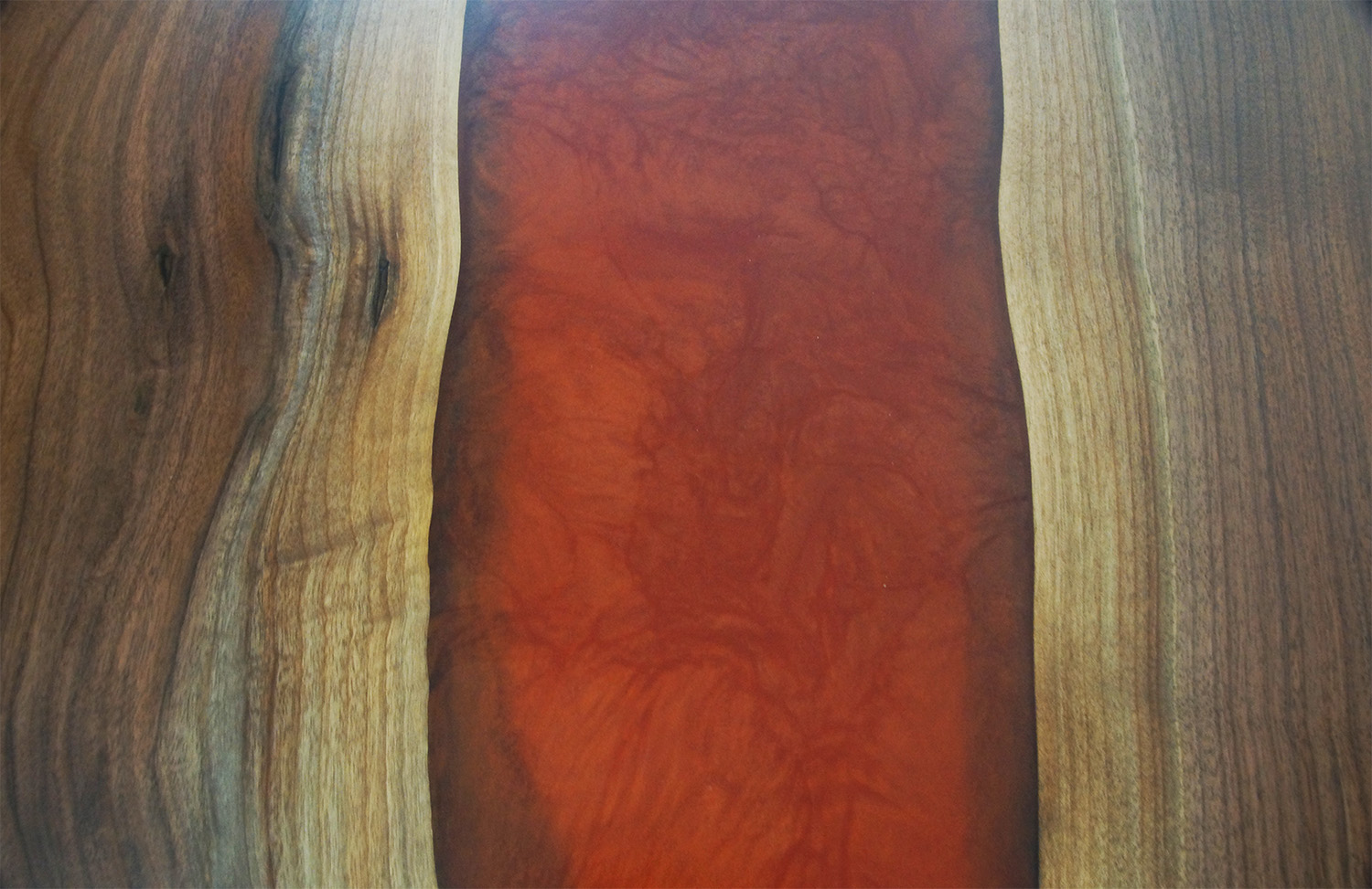 Walnut River Dining Table With Crimson Epoxy Resin