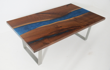 Walnut River Coffee Table With White And Blue Resin