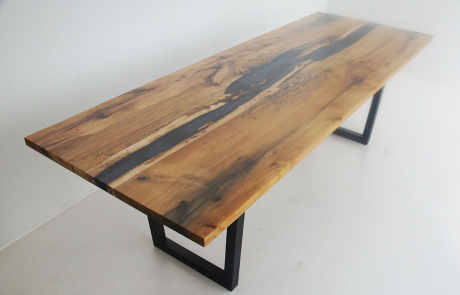 Distressed Hickory River Dining Room Table With Translucent Black Epoxy