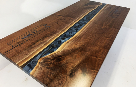 Walnut Conference River Table With Embedded Tools And CNC Logo | $9,000.00+