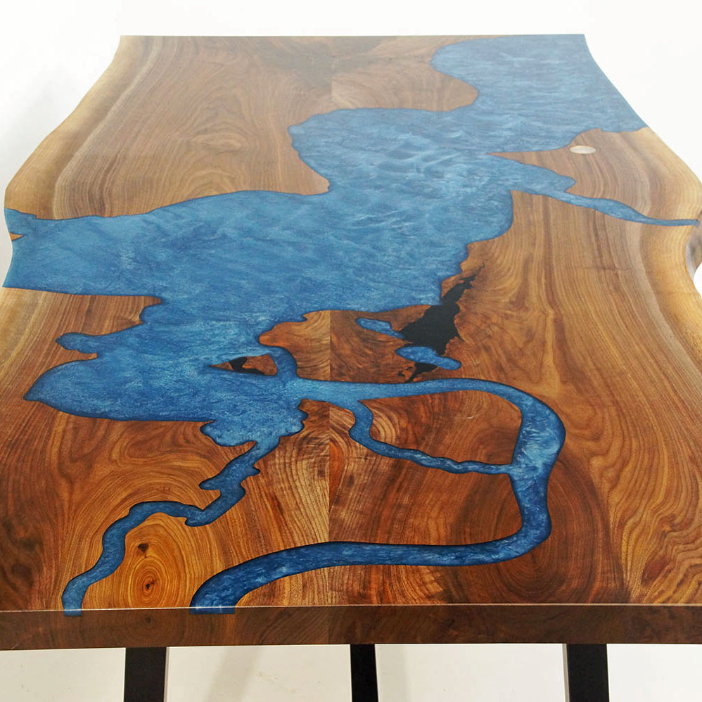 CNC Carved Chesapeake Bay Into Epoxy Resin Table