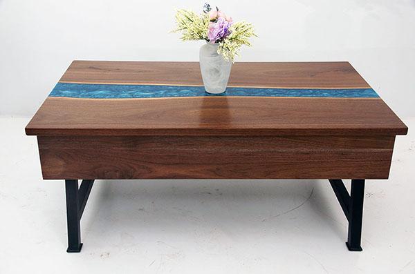 Walnut Resin Coffee Table With Storage Inside