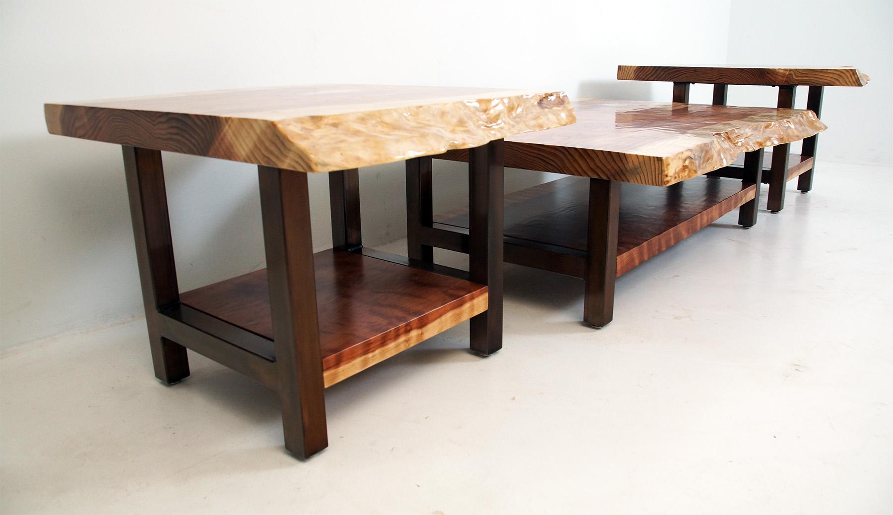 Live Edge Redwood Coffee Table & Side Table Set