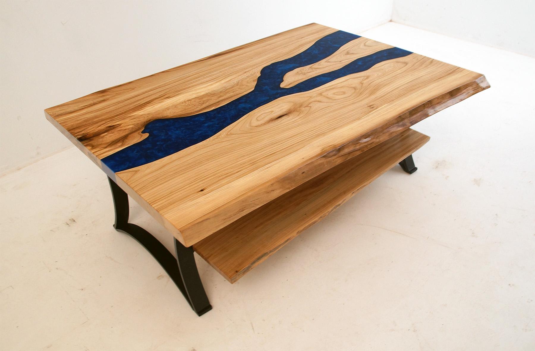 Live Edge Blue River Elm Coffee Table