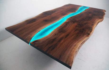 Large Walnut LED Lit Coffee Table