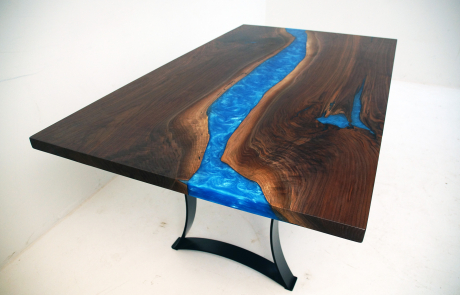 Walnut Dining Room Table With Caribbean Blue Resin
