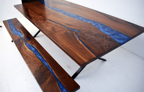 Blue Epoxy Resin River Dining Table & Bench