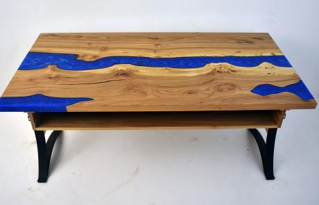 LED Lit Blue River Desk From Elm Wood