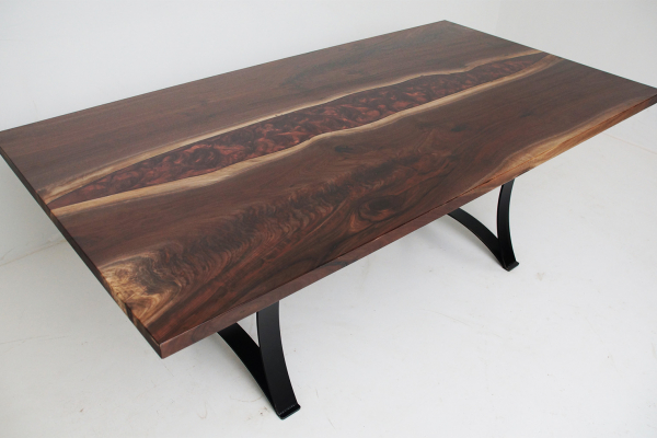 Walnut Copper And Black River Dining Table