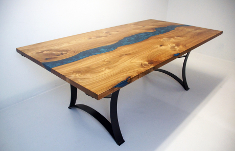 Extendable Elm Dining Room River Table
