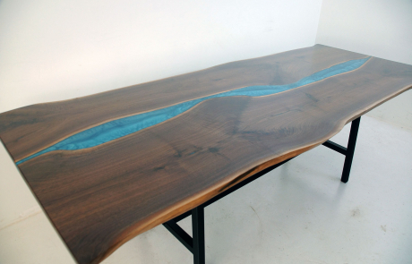 Walnut Dining Room Table With Blue Epoxy Resin River