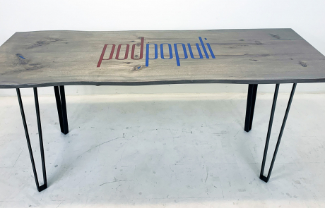 Gray Stained Bleached Walnut CNC Logo Table