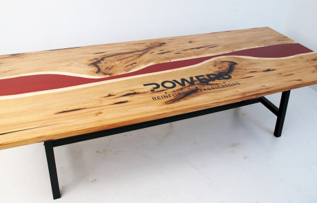 CNC Engraved Hickory Red Epoxy Resin River Conference Table