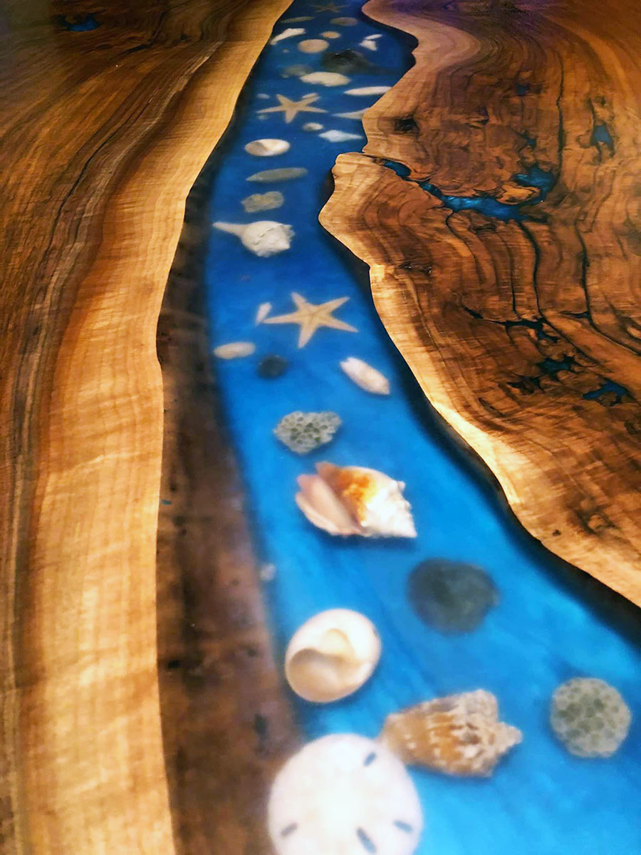 Live Edge Walnut Blue River Table With Embedded Seashells