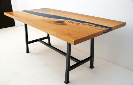 Cherry Wood Dining Table With Deep Blue Resin