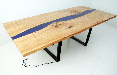 Extendable Elm Dining Room Table With LED Lights