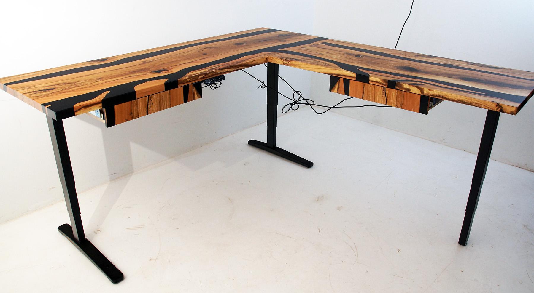 L-Shaped Ergonomic Beech River Desk