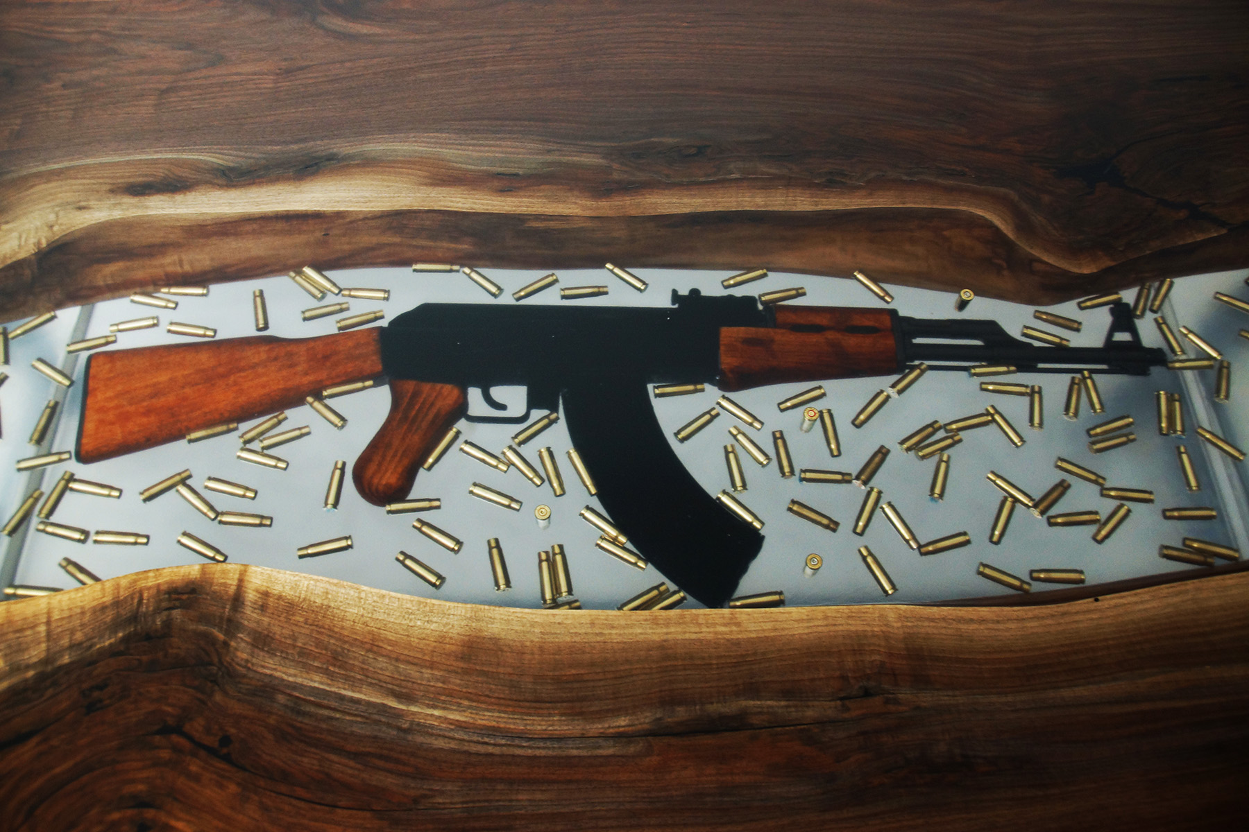 Conference Resin River Table With Embedded Firearm And Bullets