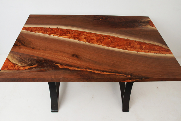 Dining River Table With Orange Resin