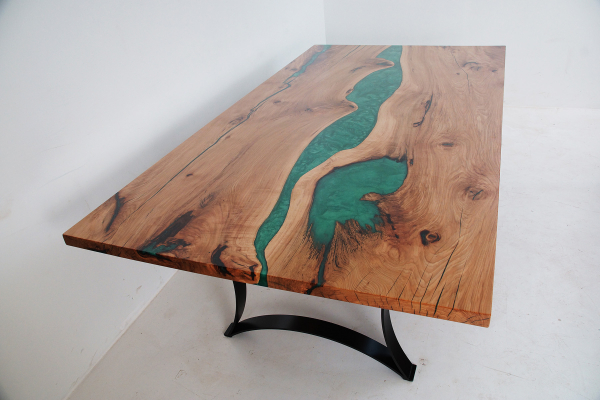 Hickory Dining Table With Green LED Lit Resin