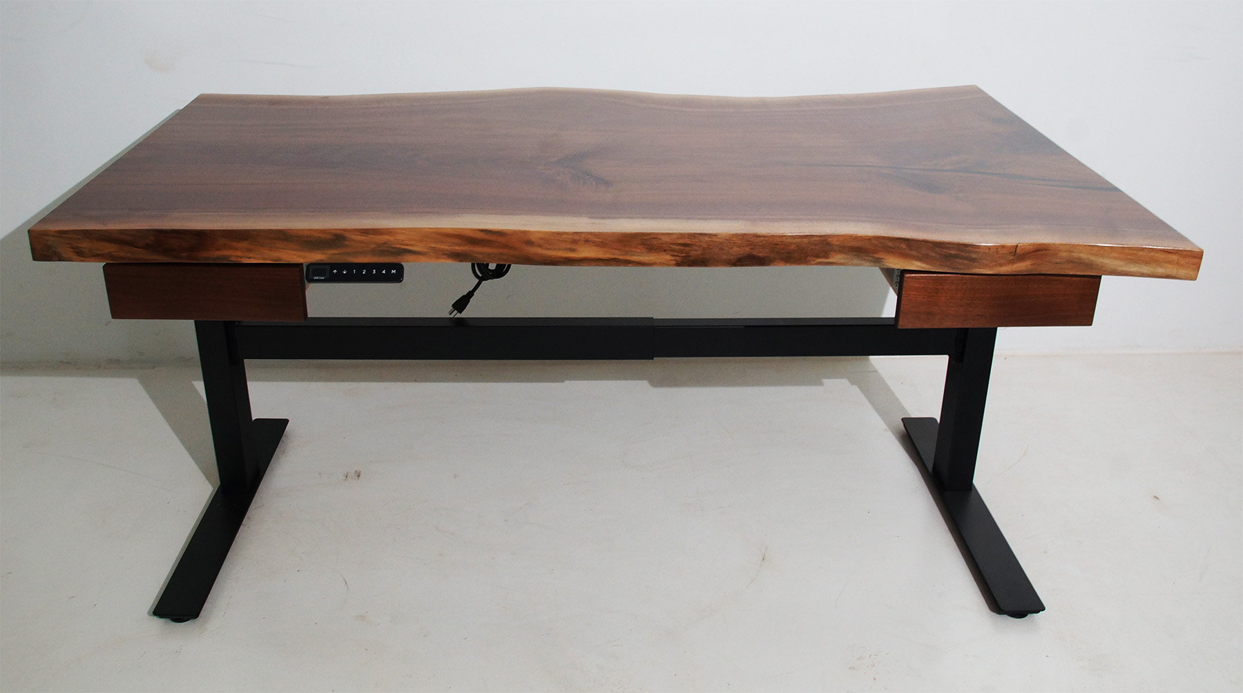 Live Edge Uplift Desk With Drawers